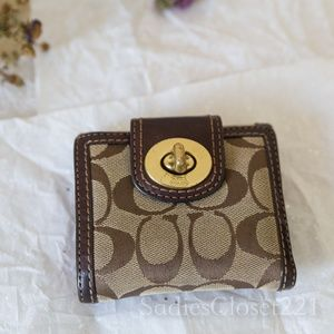Coach Brown Signature Canvas Wallet